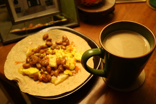 breakfast burrito and coffee