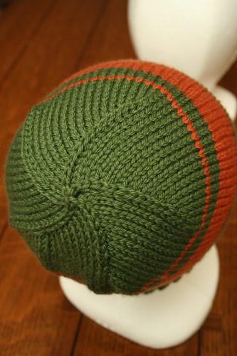 Hat 3 - Green and Orange striped
