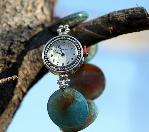 Sky blue agate watch