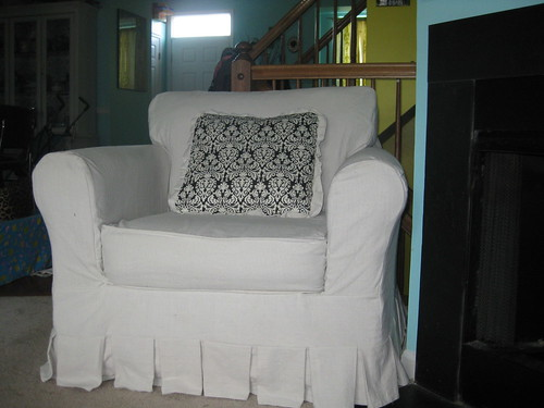 slipcovered chair after
