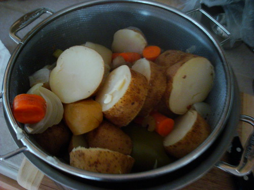 draining the veggies