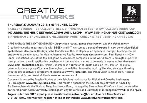 Creative Networks, Birmingham 27th January 2011