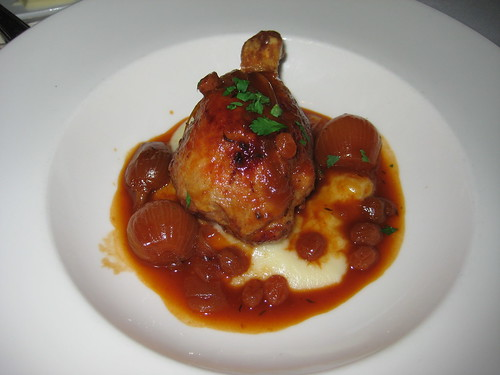 duck jambonette with sweet and sour pearl onions, creamy polenta