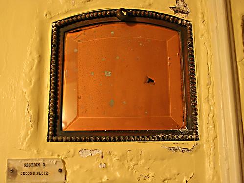 old, crumbling columbarium niche