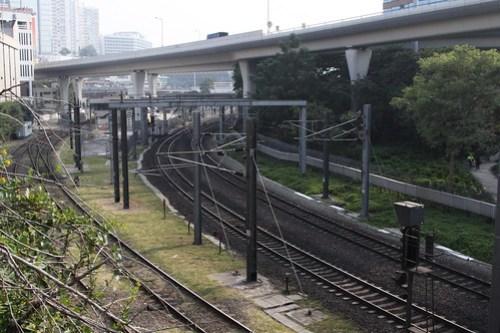 Tracks departing Hung Hom station