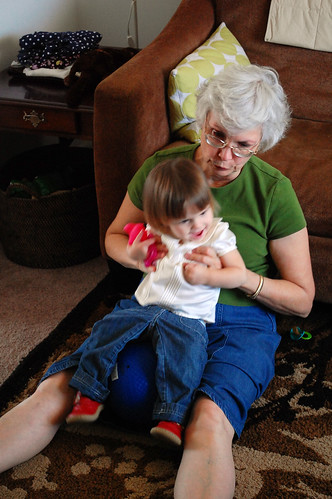 Bouncing with grandma.