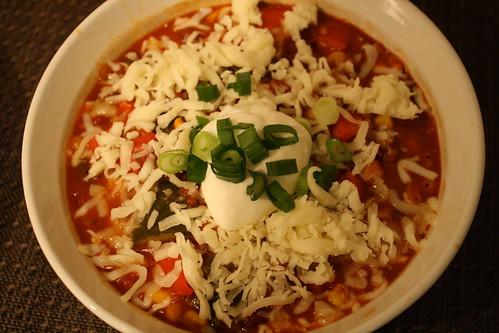 plated vegetarian chili