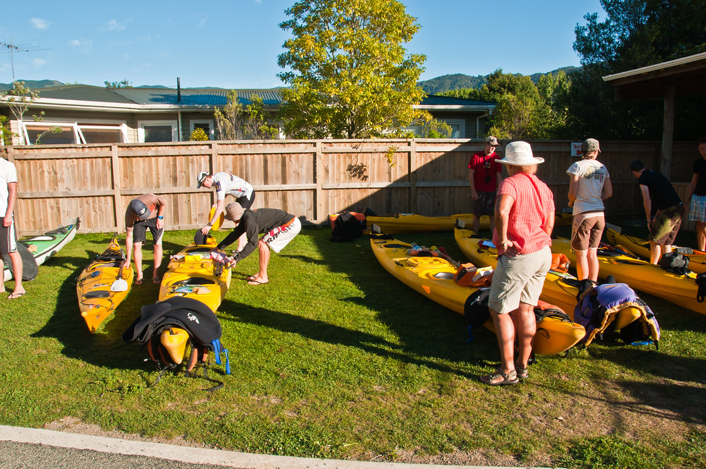 Preparing our kayaks