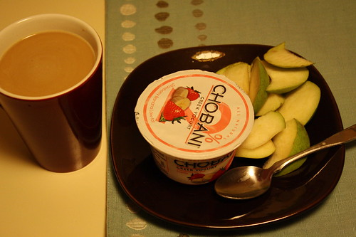 coffee, Chobani, pear