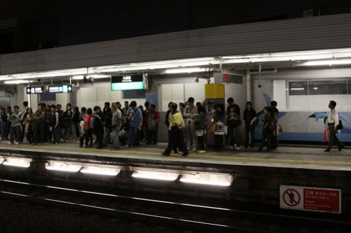 Passengers lined for for the next train