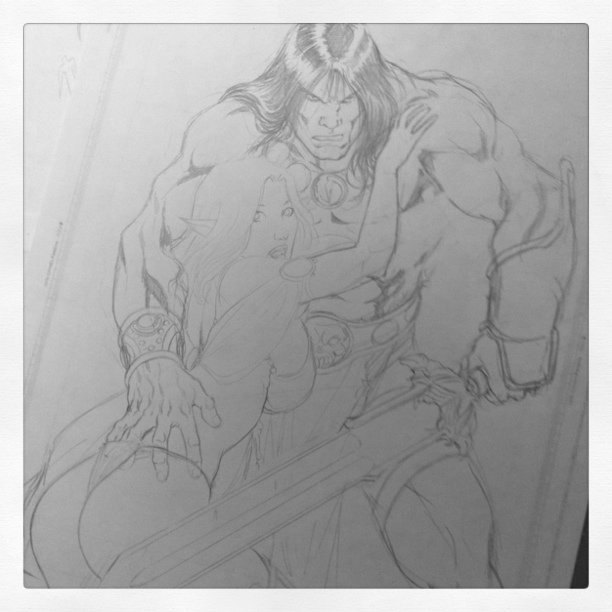 Conan - more detailed - tomorrow, the inks ;)  #conan #comics #rpg #fantasy