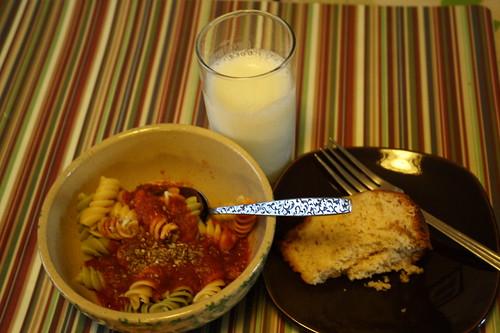 pasta, skim milk, almond cake