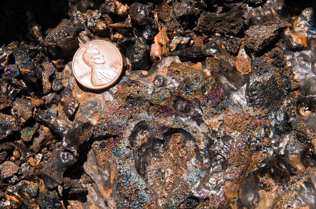 Iridescent lava cinders
