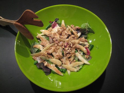 Endive, pear & walnut salad with raspberry vinaigrette