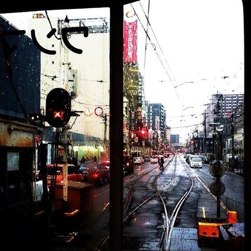 雨のステイション~♪ 上町線の車窓から。#Osaka #Abeno #チン電