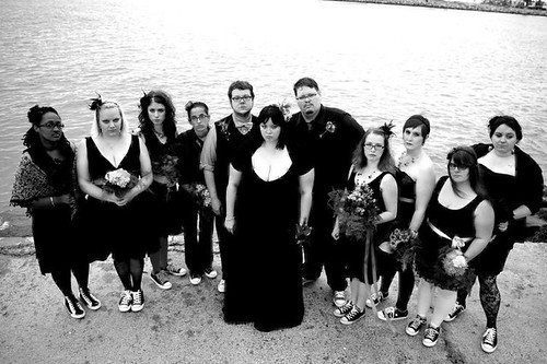 Goth wedding party photo