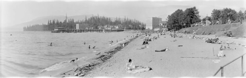 [View of English Bay beach and pier showing Englesea Lodge, Sylvia Court Apartments and the bathhouse]