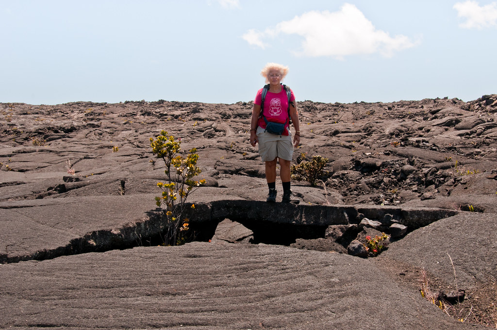 Chris on a lava flow, Mauna Ulu