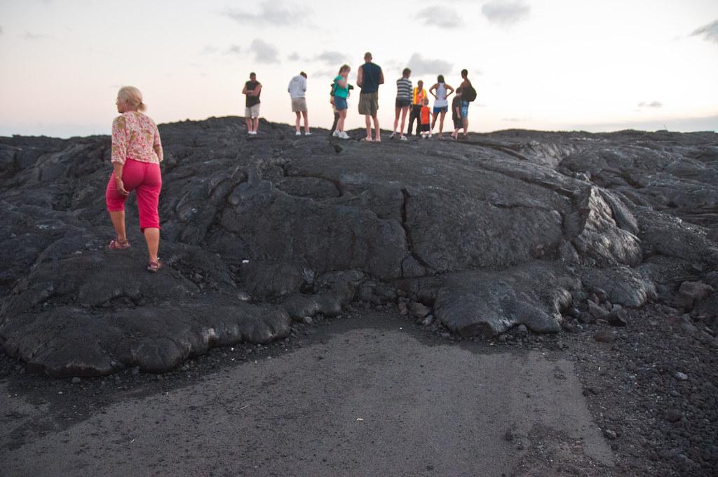 Chris on a 7 week old lava flow, near Kalapana