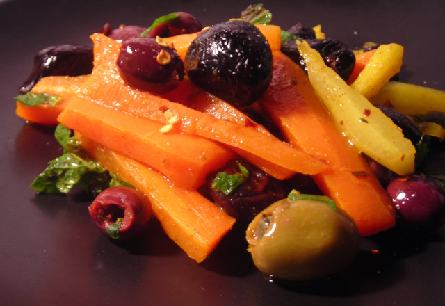 Heirloom carrot salad with olives, capers and mint