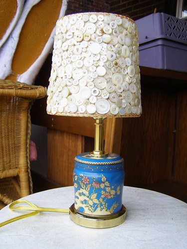 vintage tin and button lamp!