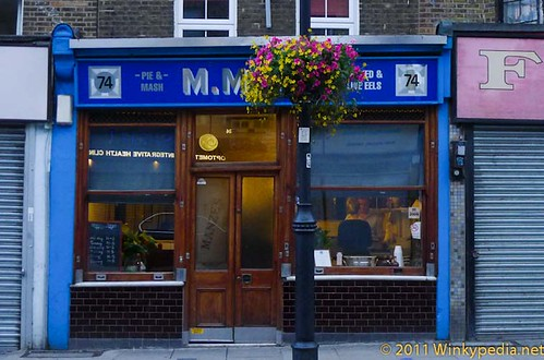 M.Manze's traditional Pie & Mash hall in Chapel Market, Angel