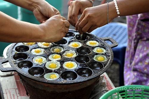 Fried Quail Eggs, Street Food in Thailand