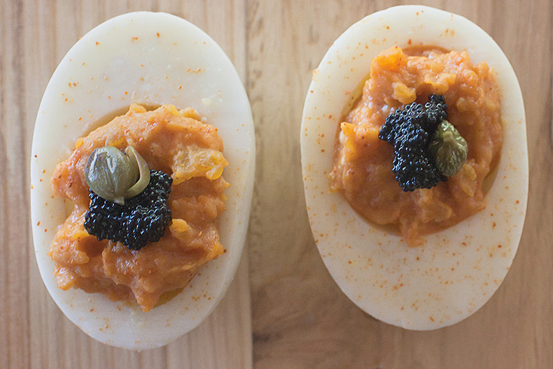 Chipotle Deviled Eggs with Caviar by Jackie Alpers