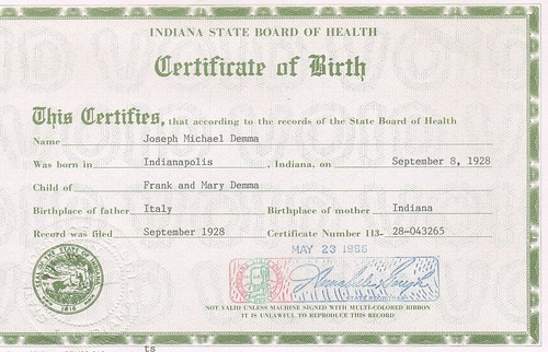 Joseph Demma Birth Certificate