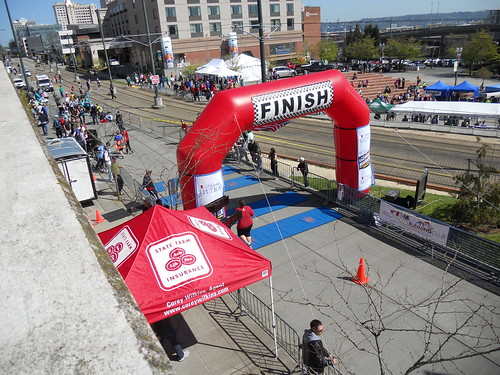 Kristen crossing the finish line