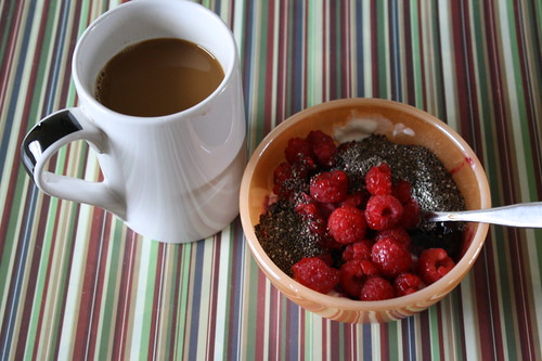coffee; greek yogurt with raspberries, chia seeds, wild blueberry preserves