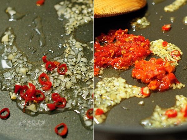 炒香蒜末、辣椒和油漬蕃茄丁