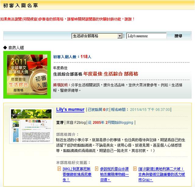 謝謝你們!我入圍了2011全球華文部落格大獎「年度最佳生活綜合」部落格!