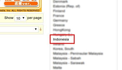 Indonesia is available in the shippable country list