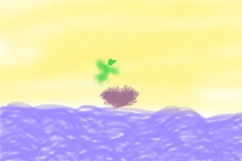 Verda birdo flugas sur la maro che la nesto by Federico Gobbo