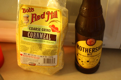 Bob's Red Mill cornmeal; New Belgium beer