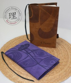 Personalized Suede Cover: Cognac Swirl & Purple Peacock