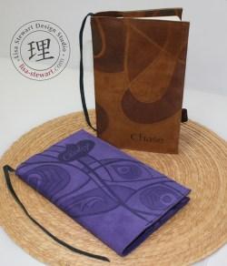 Personalized Suede Cover: Cognac Swirl & Purple Peacock