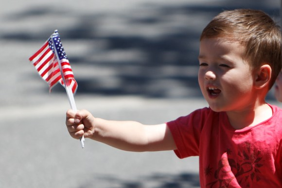 Boy with Flag - 4th of July - Menlo Park