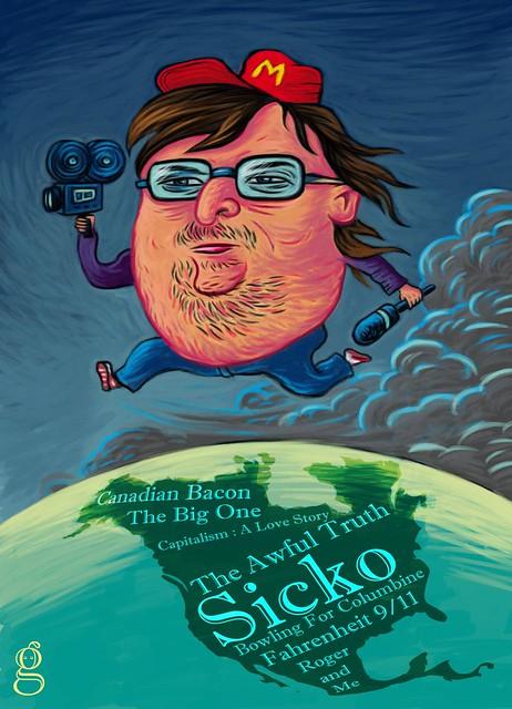Michael Moore Caricature - Illustration de Gilderic