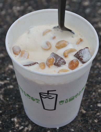 Shake Shack Concrete Take Me Out to the Ballgame with chocolate truffle cookie dough, peanuts and caramel