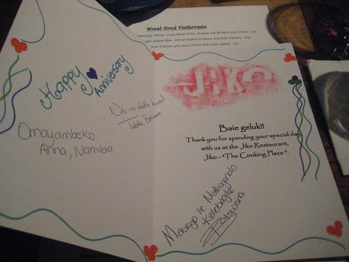 Anniversary Card @ Jiko, Animal Kingdom Lodge