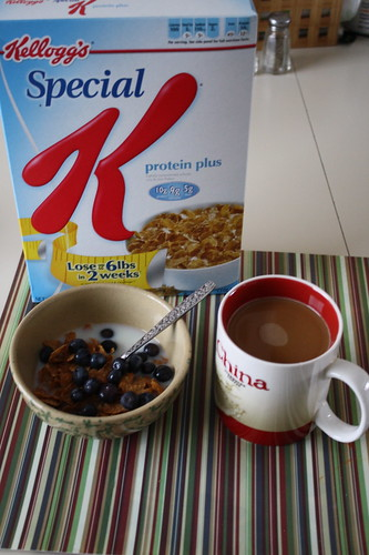 Special K protein plus, fresh blueberries, coffee