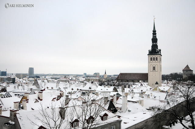 Old town with a snow blanket