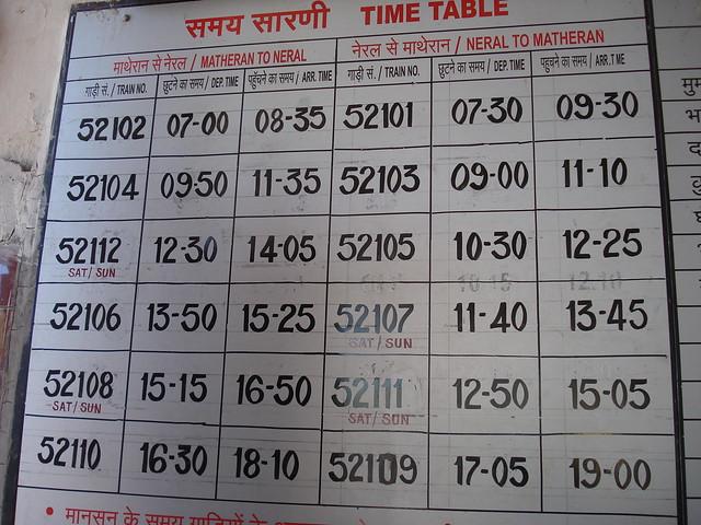 Neral - Matheran Train Time Table