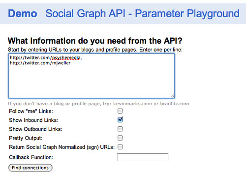 Google Social API parameter playground