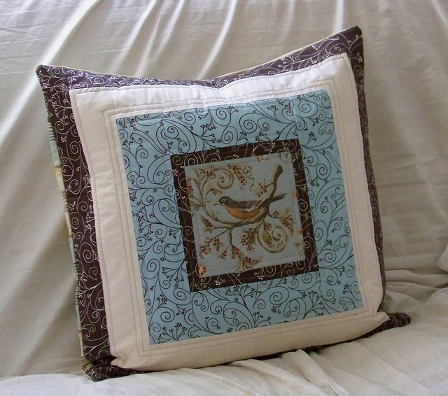 blue brown bird handmade pillow for christmas gift