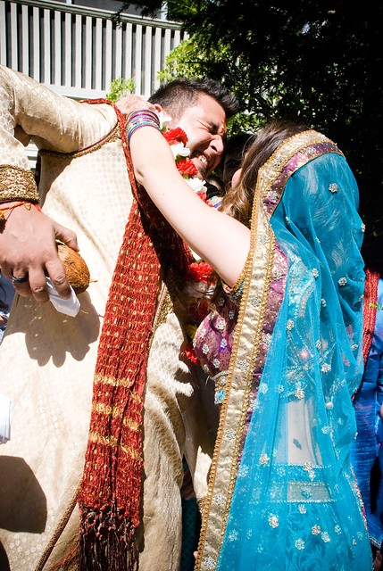 Pre-ceremony games, trying to get the garland over Suraj's head…but he's too tall! Luckily, he let me win :)