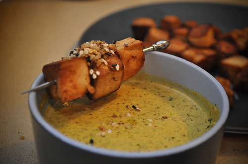 Crunchy Tofu with Spiced Dipping Yoghurt
