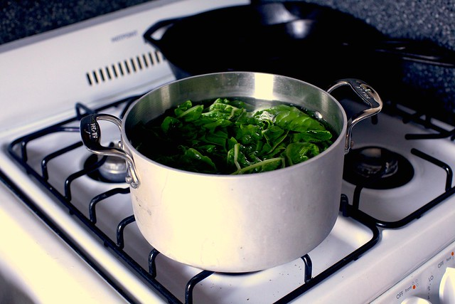 quick-cooking the greens